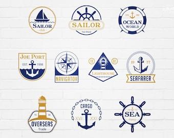 Sea Marine Badges Editable Vector Logos