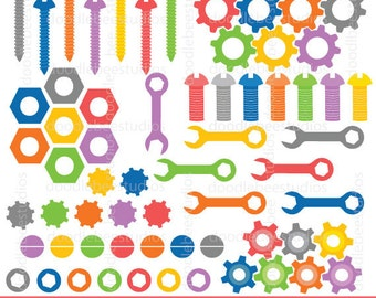 Nuts and Bolts Clipart, Nuts Bolts Clip Art, Digital Nuts and Bolts, Screws, Gears, Spanners, Robot Tools