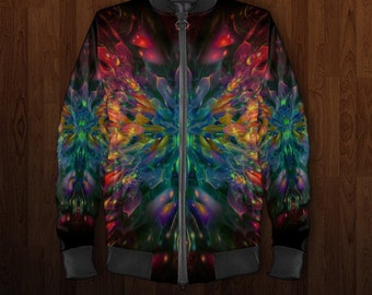 Bomber Jacket, Psychedelic Bomber jacket, Flight jacket, Blazer, Varcity Jacket, Zip up Jumper, Rainbow Jacket, Festival Coat, Cardigan