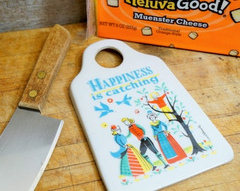 Vintage Swedish Food Grater/Porcelain Food Grater/Berggren Kitchen Grater/Happiness is Catching/Folk Art Kitchen Grater/Made In Sweden