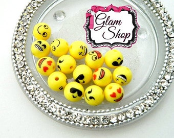12mm EMOJI BEADS - 15pcs Craft Supplies, Necklace Making Supplies, Smiley Face - Text Message Face Beads