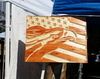 United States bald eagle American flag carved out of wood ready for your patio or inside your home