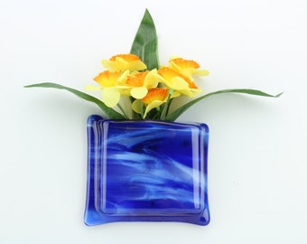 Blue and white glass hanging notepad holder - Blue and white glass hanging flower vase - Blue and white glass wall vase