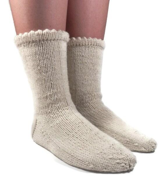 white Hand Knitted Wool Socks Sleeping Socks Warm Winter