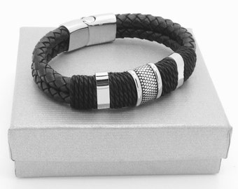 Bracelet braided leather and steel. QUALITĖ TOP
