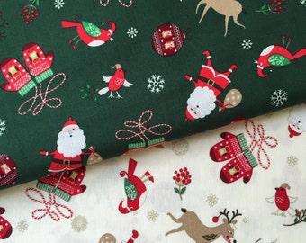 Christmas Mittens Cotton Fabric