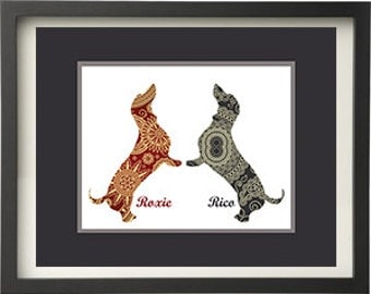 Dachshund Double Art Print