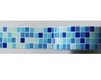 """Washi Tape """"B"""" Dark and Light Blue and White tiles squares"""