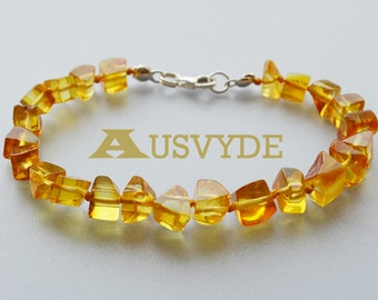 Yellow Beads Amber bracelet each beads knotted with sterling 925 clasp Polished natural Baltic amber bracelet for women, 5015