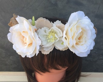 Burlap Crown, Rose Crown, Wedding Crown, Festival Crown, Birthday Crown, Flower Crown, Rustic Crown, Coachella head wear