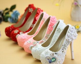 Stylish Womens Bling  Rhinestone Bride Dress Wedding Beautiful Shoes with personalized exclusive signature design