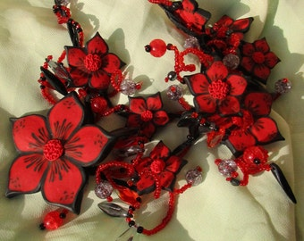 Red flowers necklace Red flowers Jewellery Flower Necklace Handmade Polymer clay Black and Red For speacial evening unique gift for her