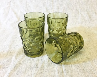 Vintage Avocado Green Thumbprint Juice Glasses, Set of 4