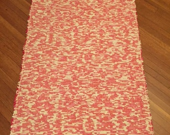 Handwoven Rug on 100 year old Rug Loom, Washable, Durable, Valentine fabric