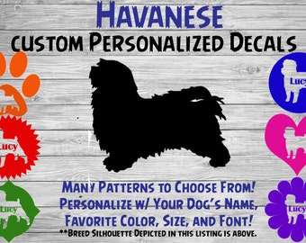 Havanese Dog Personalized Silhouette Vinyl Decal - Dog Breed Decal-Car Window Decal-Pet Gift-Custom Pet Sticker - Dog Name Sticker