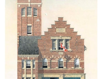 Fire Station Greeting Card, Hall 24, Balmoral Ave. Toronto // Fire House, Toronto art, Fire Hall, Toronto history, Queen Anne, Architecture.