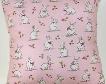 Pink Bunnies Design Cushion // Filled Cushion // Various sizes