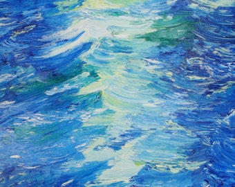 Original Art Giclee Print, Water, Waves, Seascape, 8x10