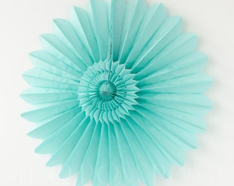 Turquoise Green Tissue Paper Fans - Rosettes - Pinwheels - Wedding Party Decorations - Backdrop Decorations