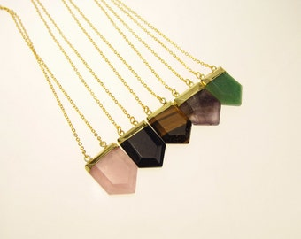 Pentagon Pendant Necklace Opal Gold Plated Edge White Quartz Crystal Rose Quartz Aventurine Tiger's Eye Semi Precious Stone Jewelry TNK-0023