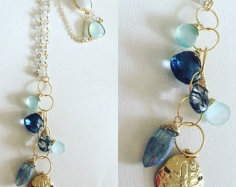 14K Gold Filled necklace Chalcedony London Blue Topaz Tourmalated Quartz and Charm