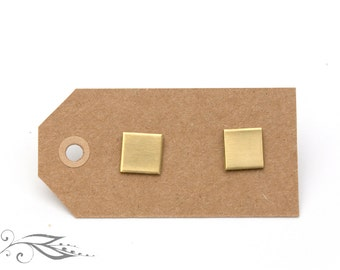 Squares - hand-soldered studs 8x8mm made of brass and stainless steel