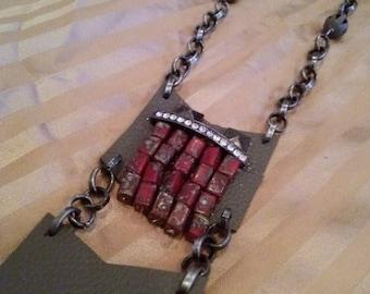 Chevron Pendant Sweater Necklace