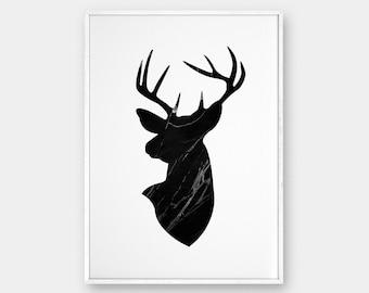 Deer Head Wall Art deer head wall art | etsy