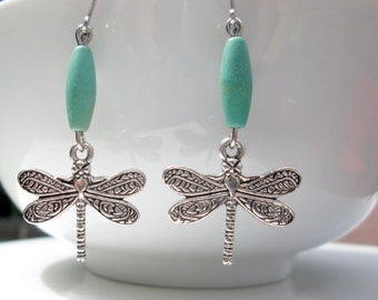 Pretty Dragonfly Earrings, Dragonfly Charms, Turquoise Drop Earrings, Leverback Earrings, Nature Jewelry, Insect Earrings, Hypoallergenic