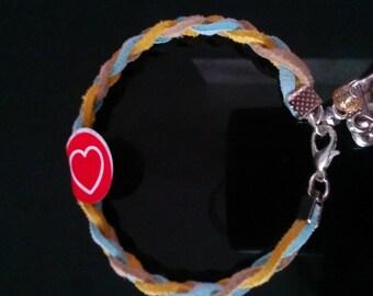 handmade suede braided charm bracelet