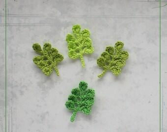Crochet applique leaves green (set of 4 pcs)