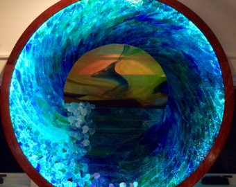 LED Lit Ocean Wave Stained Glass Mosaic