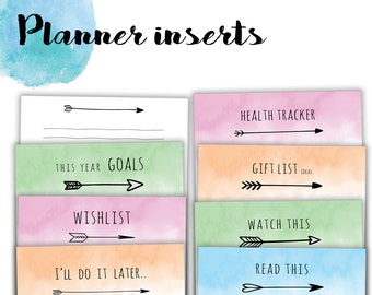 """VALUE PACK: 8 inserts! (SAVE 45%!!)   Personal/medium size printable inserts   To do, health tracker, notes... - """"Boho colours"""" collection"""