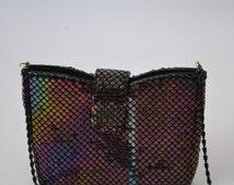 Vintage Rainbow Multi-Colour Metal Mesh Shoulder Bag Evening Bag Crossbody bag