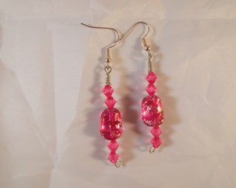 Handcrafted one of a kind pink crystal and speckeled dangle earrings