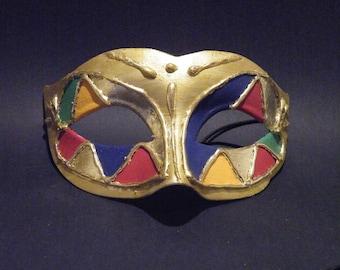Male Venetian Wedding Masquerade Mask, Mardi Gras Masquerade Mask,  Gold Leaf.
