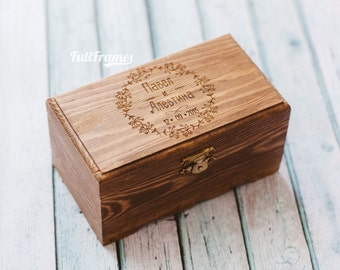 Wedding wooden ring box in botanica style