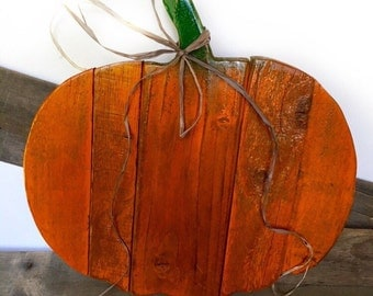 Wooden Pumpkin Decor - Wood Pumpkin Door Hanger - Rustic Halloween Decor - Thanksgiving Decor - Primitive Fall Decor - Front Door Decor