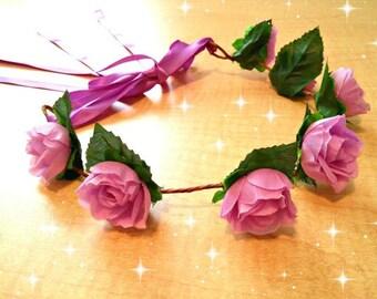 Purple Headdress, Floral Headband, Flower Crown, Hair Wreath, Head Garland, Renaissance Halo, Fairy Costume, Maiden Dress