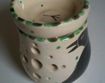 Crow oil burner, tealight holder, handmade pottery, raven gift, crow gift, crows, ravens, oil burner, bird pottery, home decor, lantern,art