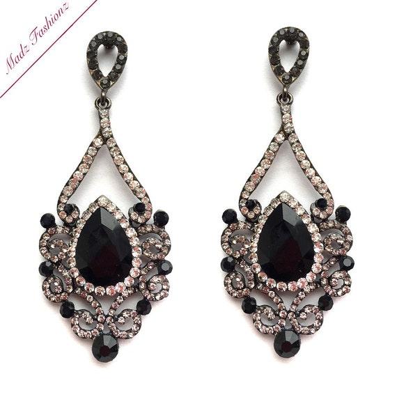 black and grey earrings drop earrings wedding by