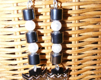 Hematite Pearl and silver Shield Earrings