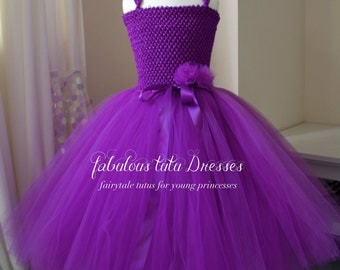 Romantic Deep Purple Tulle Tutu Flower Girl Party Dress Handcrafted, perfect for any special occasion.