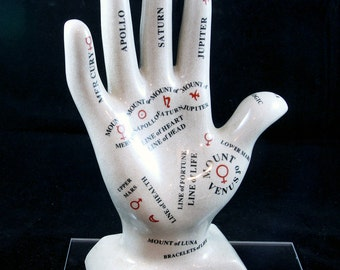"Palmistry Hand Porcelain 12"" -palm reading-fortune teller-Psychic-chiromancy reading-hand analyst-Hand Reader-chirologists statue"