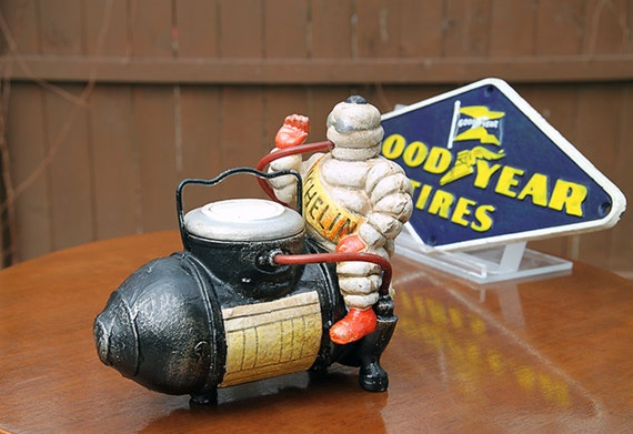 Michelin Man on Compressor-Bibendum Michelin Man- Bibendum Compressor-Bibendum Cast Iron-Bibendum Collectible-Michelin Collectible