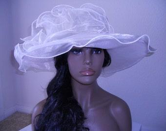 Kentucky derby hat Ivory wide brim church hat organza hat