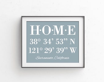 Mothers Day Gift Latitude Longitude Sign  House Warming Gift | GPS Coordinates | Gifts for Mom | Housewarming Gift HOME Realtor Closing Gift