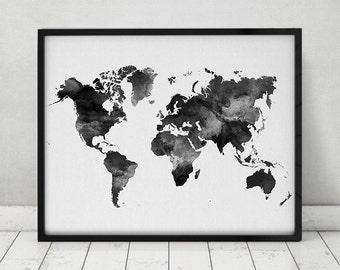 World map watercolor print, Travel Map, Large world map, minimalist world map, black & white, watercolor poster, home decor, ArtPrintsVicky.