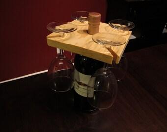 Wine and glass holder wine caddy wine glass holder