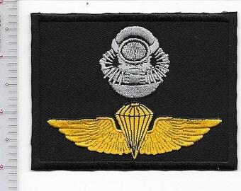 US Marine Corps USMC Force-RECON Diver Airborne Badge Black subdued Class-a black m